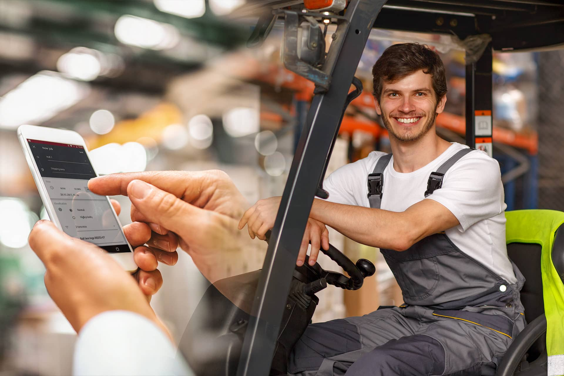 Happy Forklift driver and Truckcall App